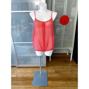 Torrid Sheer Polka Dot Button Cami in Red & White